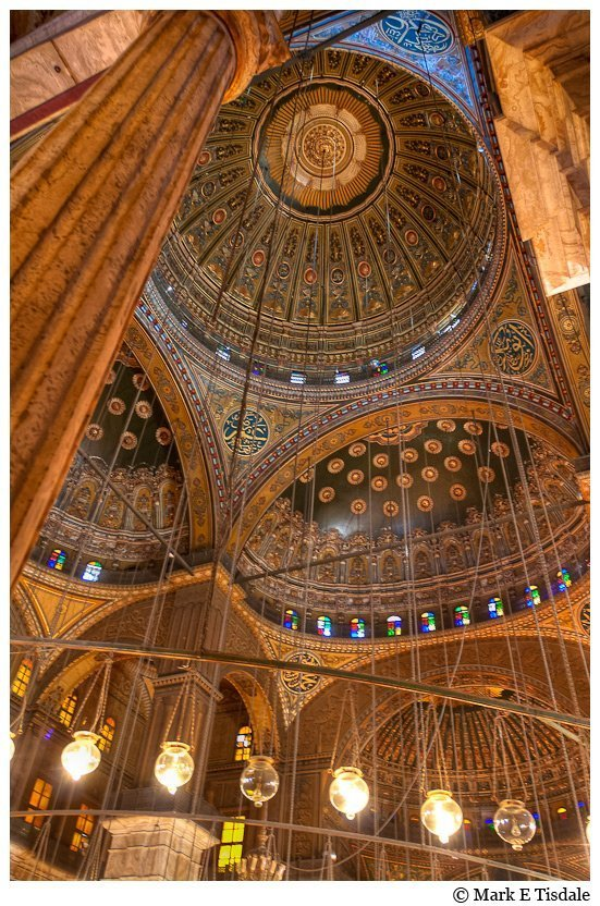 Cairo picture - the inside of the great domes of the Alabaster Mosque