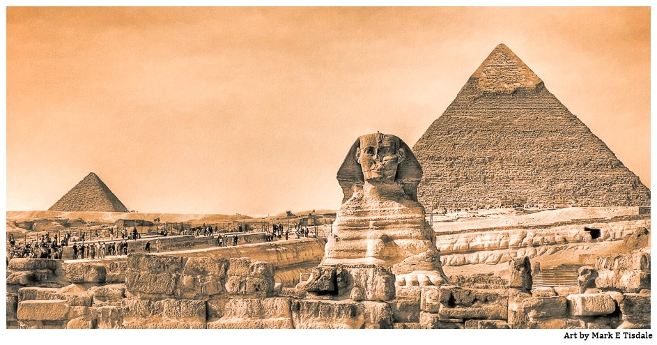 Vintage Feel Panorama showing the Sphinx and famous pyramids in Egypt