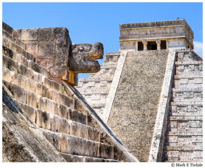 Picture of El Castillo, the main pyramid at Chichen Itza, a UNESCO site