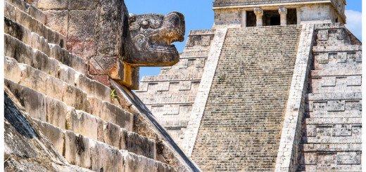 Picture of El Castillo, the main pyramid at Chichen Itza, a UNESCO site
