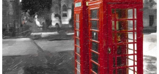 Art Print of A Red Phone Booth in Edinburgh