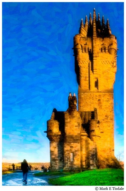 Textured Picture showing the monument to William Wallace near Stirling Bridge in Scotland