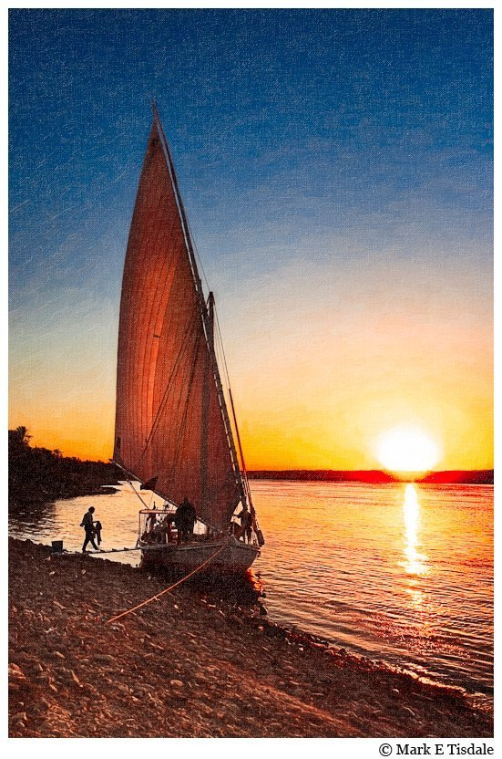 Picture of a Felucca on the Nile at sunset in Egypt