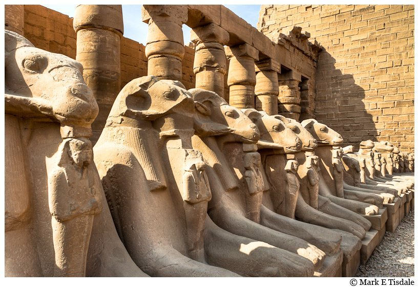 Karnak Temple Ruins - Photo of statuary from the Avenue of Sphinxes