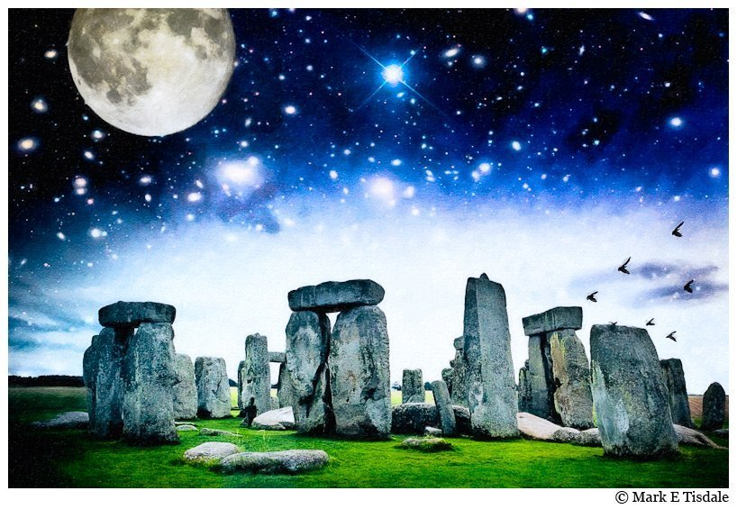 Fantasy Style Picture of Stonehenge with a dramatic moon and stars