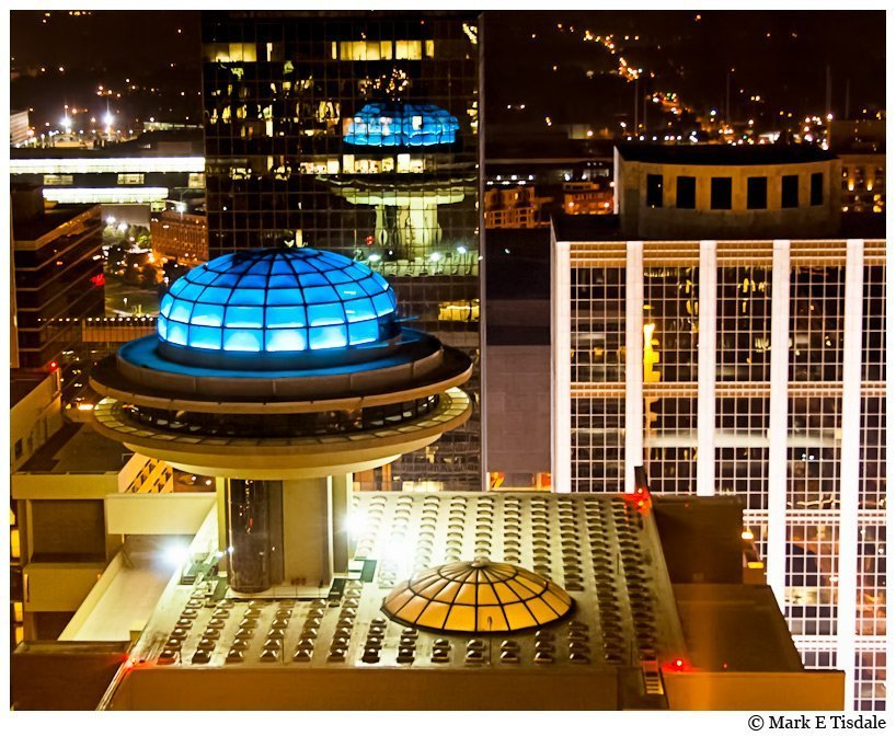 Atlanta night time photo - aerial view of the Polaris lounge atop the Hyatt in Midtown