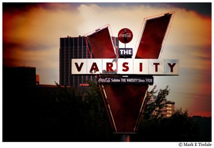 Photo of Atlanta's Varsity Sign at Dusk