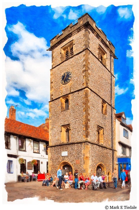 Artisitc Picture of the Medieval Clock Tower in St. Alban's England