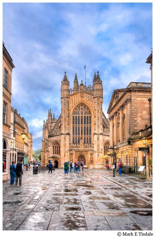 Wet Morning at Bath Abbey Art Print