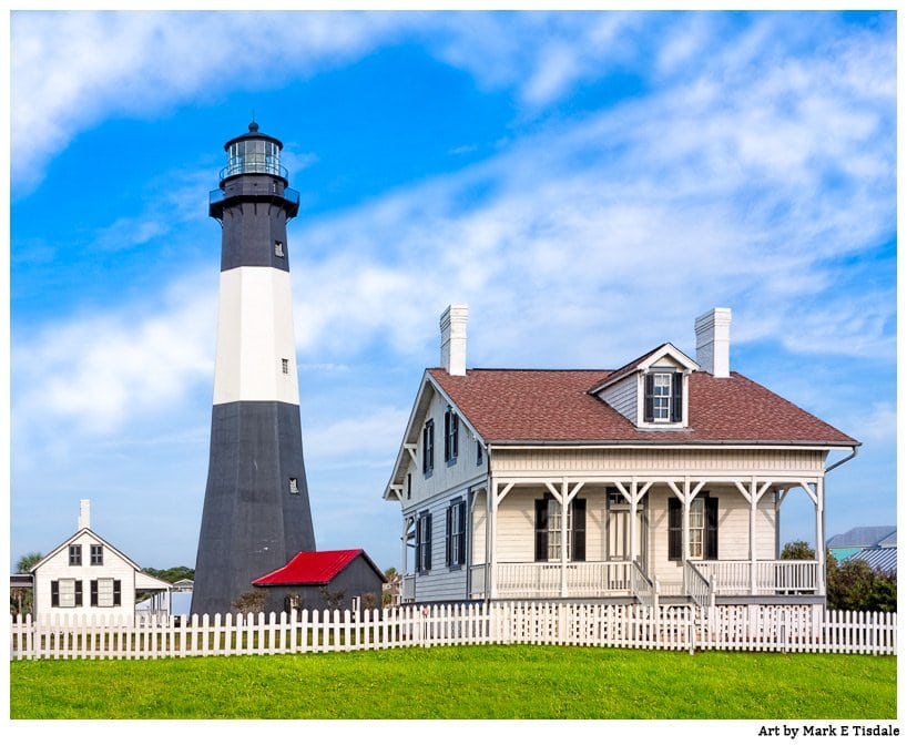 Dawn Picture - The Tybee Island Light Station and Caretaker's Cottage