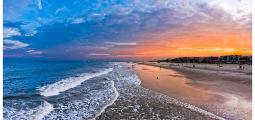 Beautiful picture of the Beach on Tybee Island near sunset - killer sky