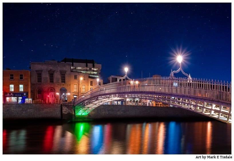 Night Time Photo of the beautiful Ha'Penny Bridge in Dublin Ireland