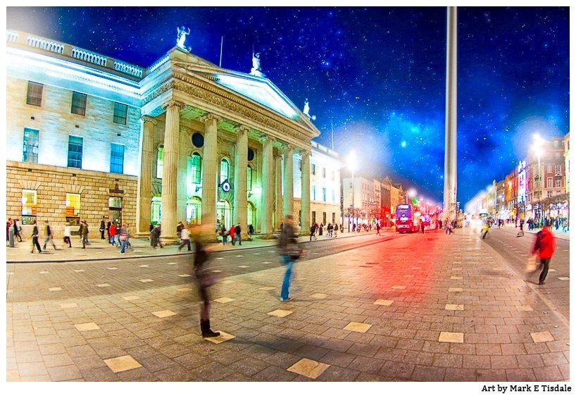 Dublin Ireland Photo of O'Connell Street at Night