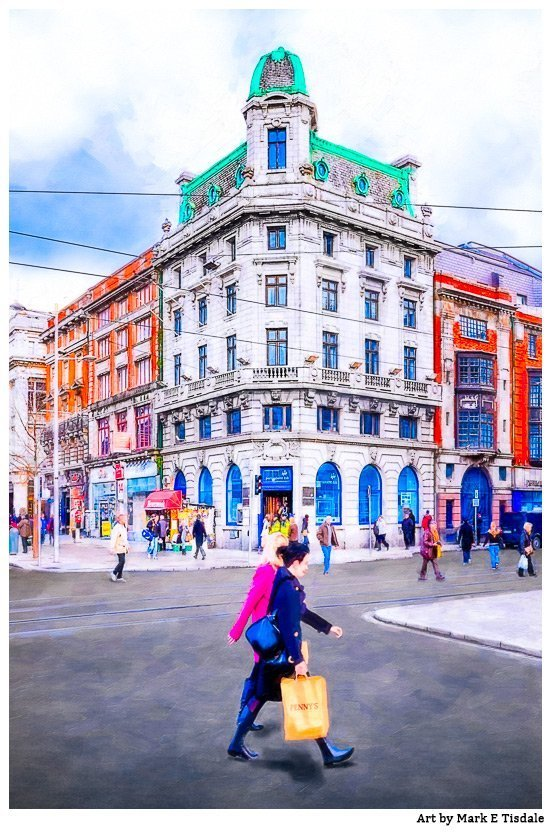 Painterly Style Photo of a street Scene in Dublin Ireland