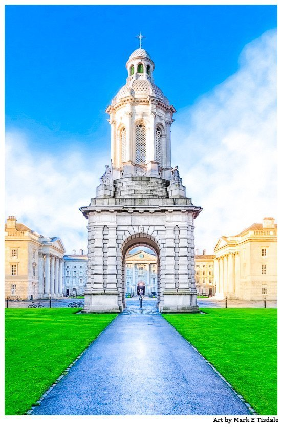 Picture of Trinity College's Campanile and the square in Dublin Ireland
