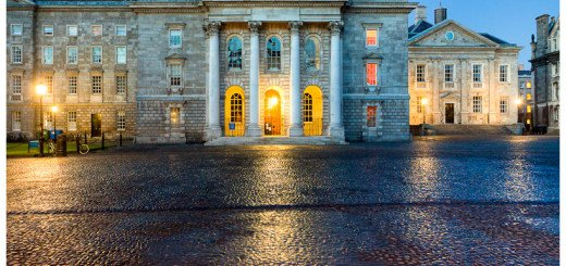 Dusk Photo of the chapel at Dublin's Trinity College