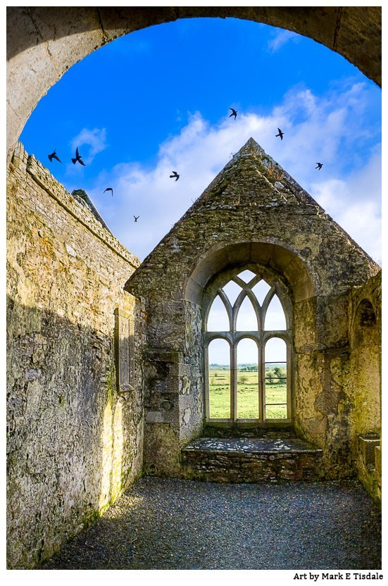 Photo of the ruins of Ross Errily Friary in county Galway with birds flying through the open roof