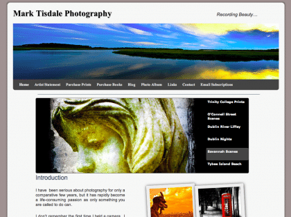 Screenshot of my new website