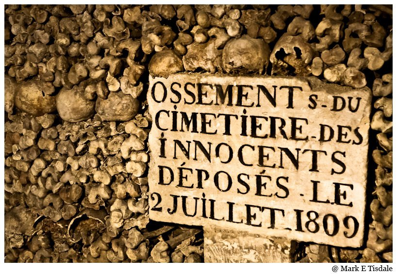 Stacks of bones in the Catacombes of Paris