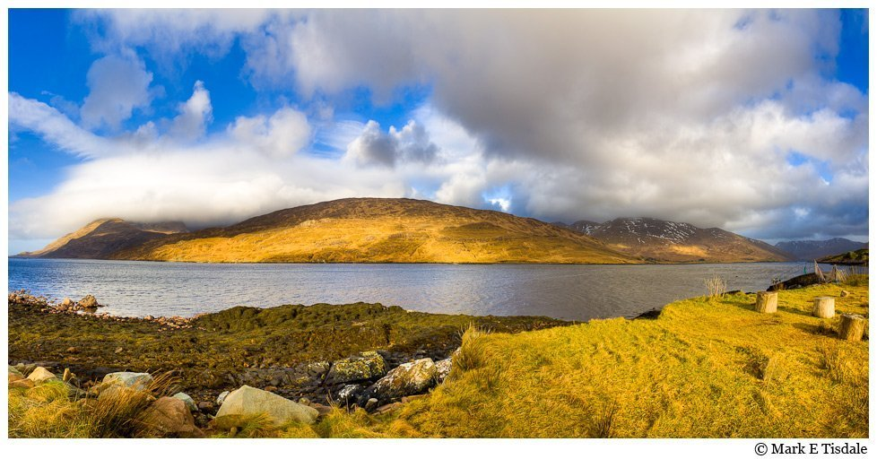 Panorama Picture of the beautiful natural harbor or fjord at Killary in County Galway Ireland