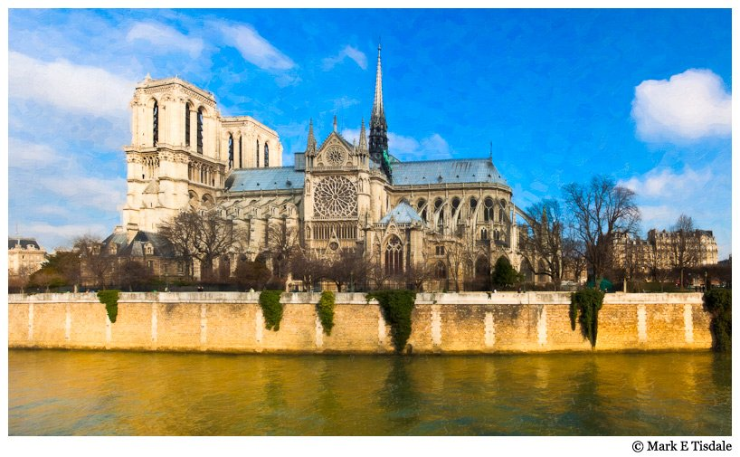 Panorama photo with textures - Featuring Notre Dame de Paris Cathedral