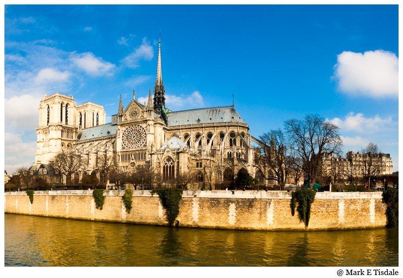 Wide Angle Photo of Paris's Beautiful Notre Dame de Paris Cathedral