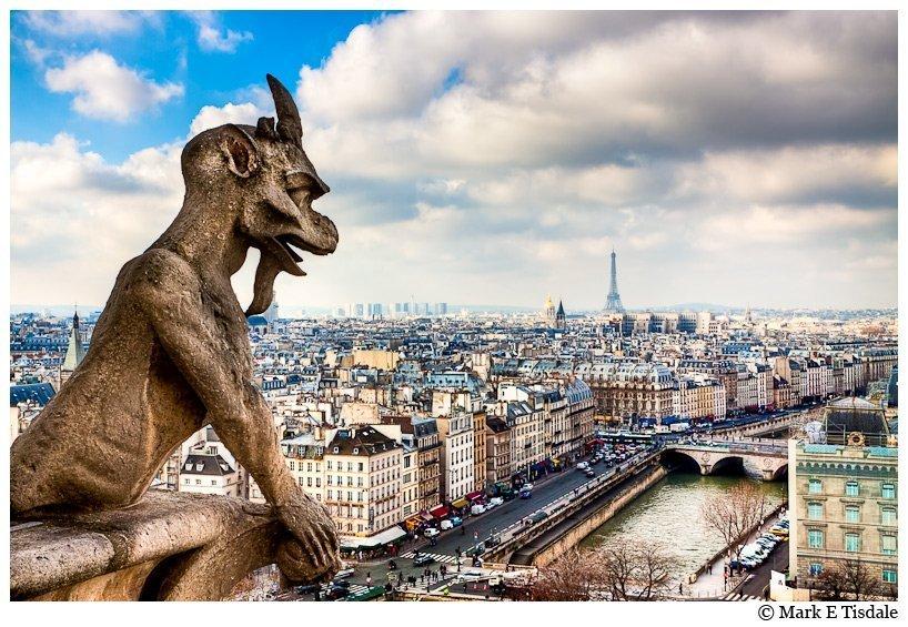 Notre Dame de Paris Gargoyle picture with Parisian Skyline and Eiffel Tower