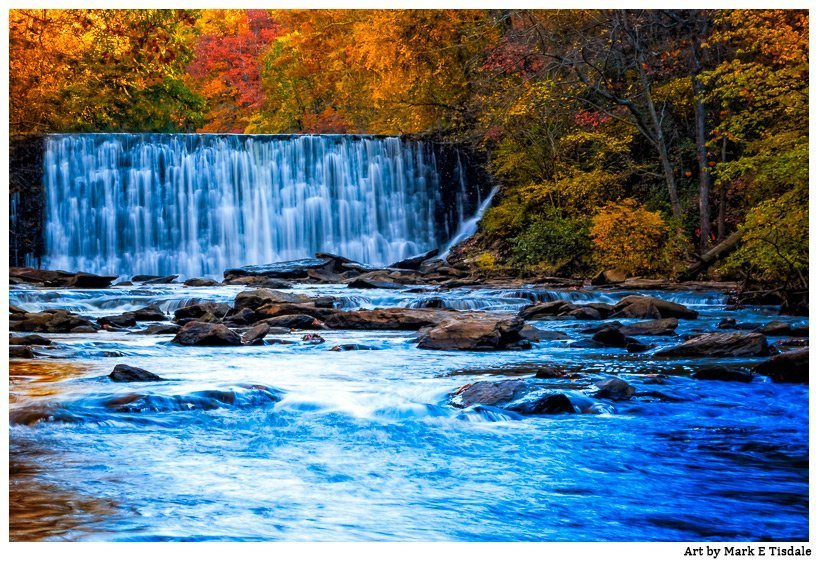 Autumn Color in this Landscape photo illustrating Vickery Creek and the falls in Roswell Georgia