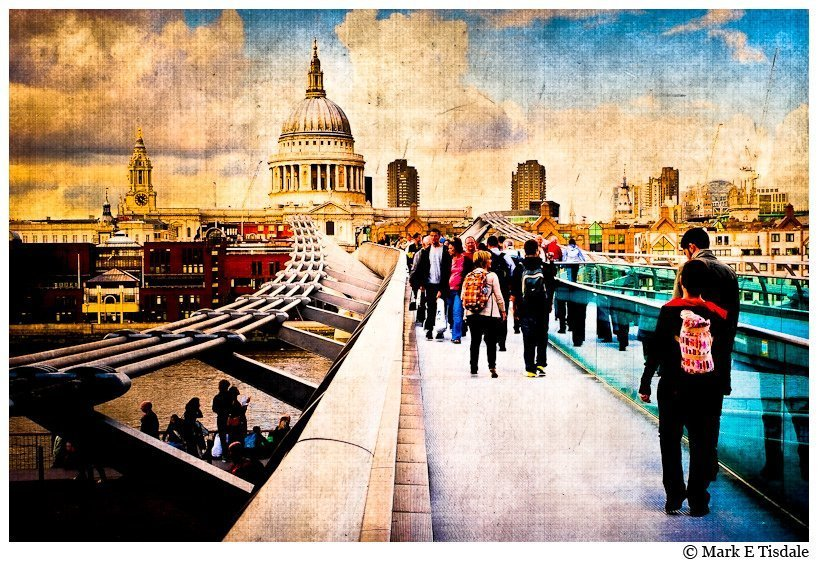 Painterly Picture of St. Paul's and the Millennium Bridge