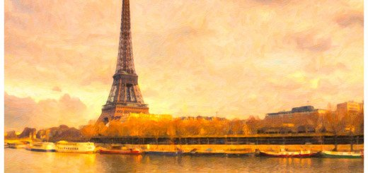 The Eiffel Tower in soft winter light - textured