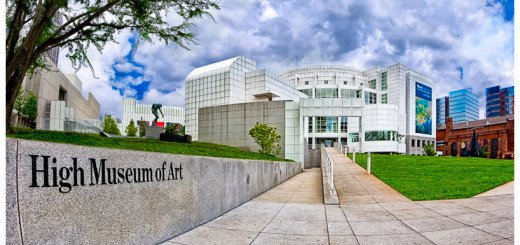 Wide angle picture of Atlanta's High Museum on Peachtree Street