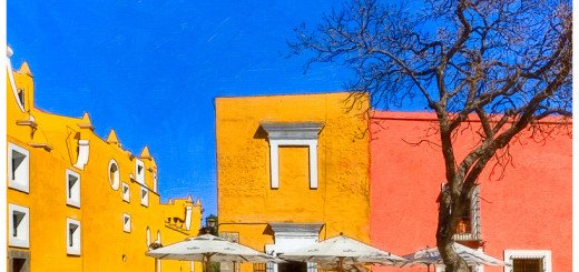 Art Print of a Colorful Plaza in Puebla Mexico