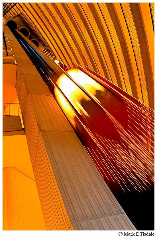 Abstract Photography - An Elevator captured in motion and repeating lines
