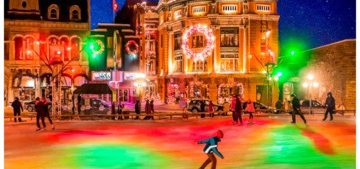 Quebec City Canada Ice Skaters with a Festive Feel