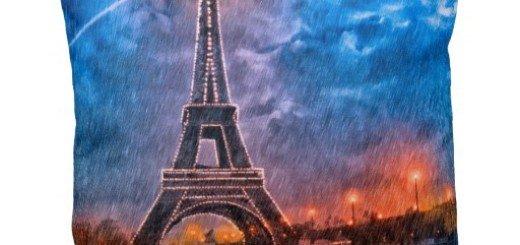 Paris In The Rain Art Throw Pillow