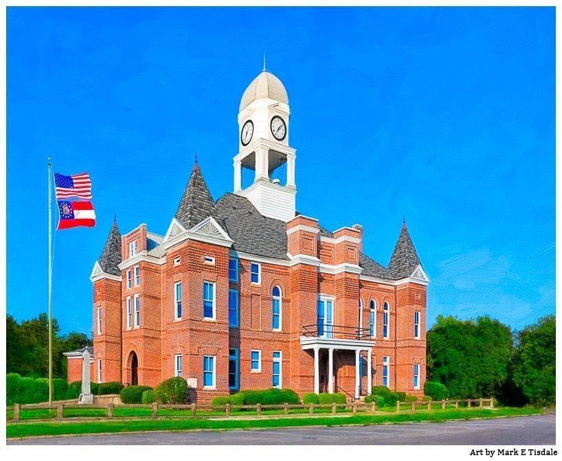 Macon County Courthouse - Georgia - artwork  by Mark E Tisdale