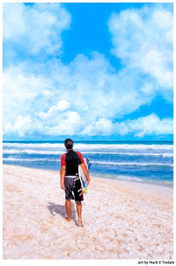 Surfer Beach Art Print by Mark E Tisdale