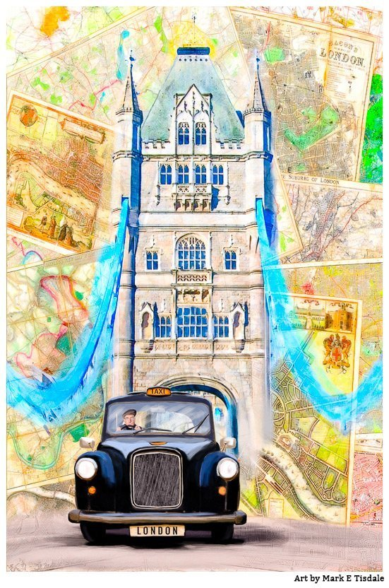 Art print of a Classic London Black Cab and Tower Bridge