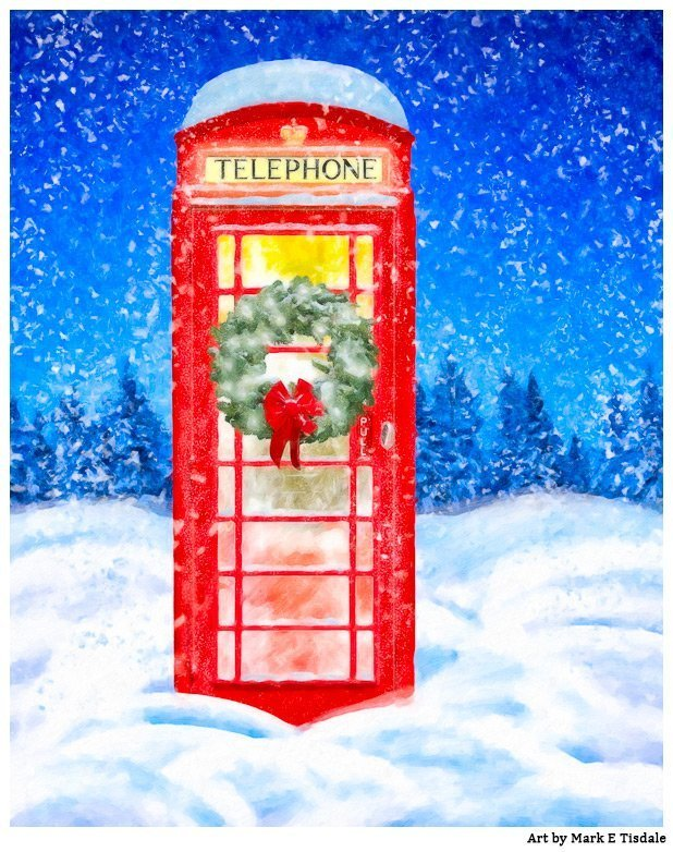 British Christmas Card - Snow Landscape with Red Phone Box