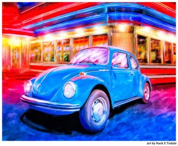 Blue Volkswagen Beetle Artwork by Mark Tisdale
