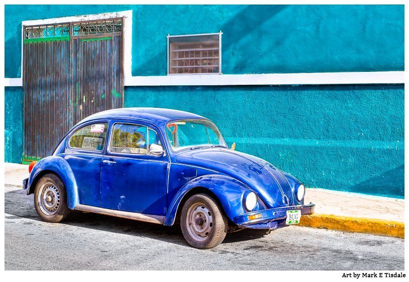 Mexico - Blue Volkswagen Beetle Artwork