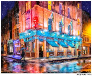 Cool Irish Art Print - Colorful Night In Dublin Ireland