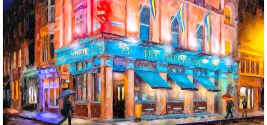 Cool Irish Art Print - Colorful Night In Dublin Ireland