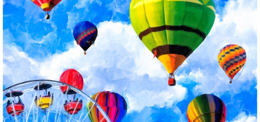 Hot Air Balloon Nursery Art Print - Whimsical & Surreal Artwork