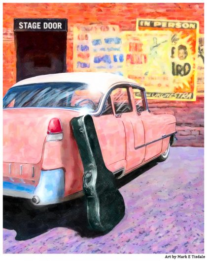 50s Music Poster Featuring a Classic Car - Elvis' Pink Cadillac