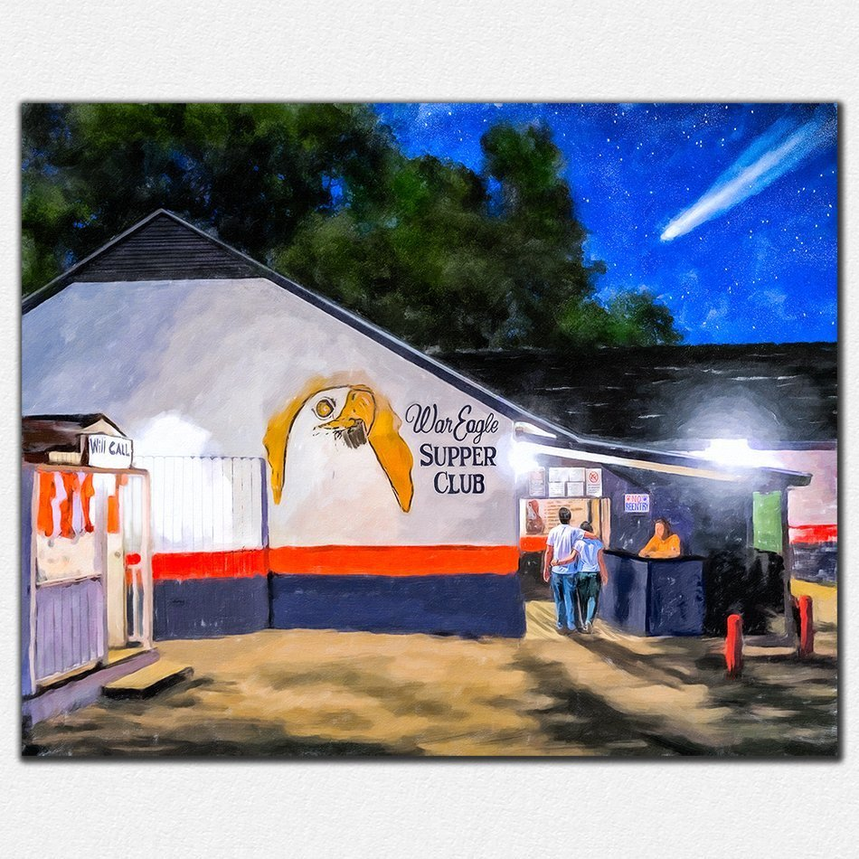 Auburn Prints - War Eagle Supper Club At Night