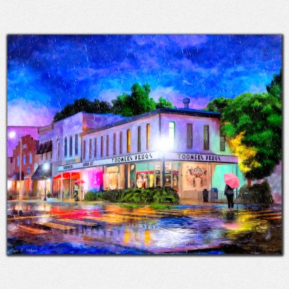 Auburn Print Featuring Toomer's Corner In The Rain