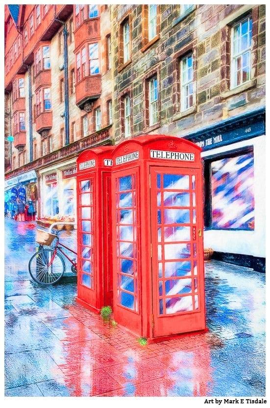 Edinburgh Red Phone Box Art by Mark Tisdale