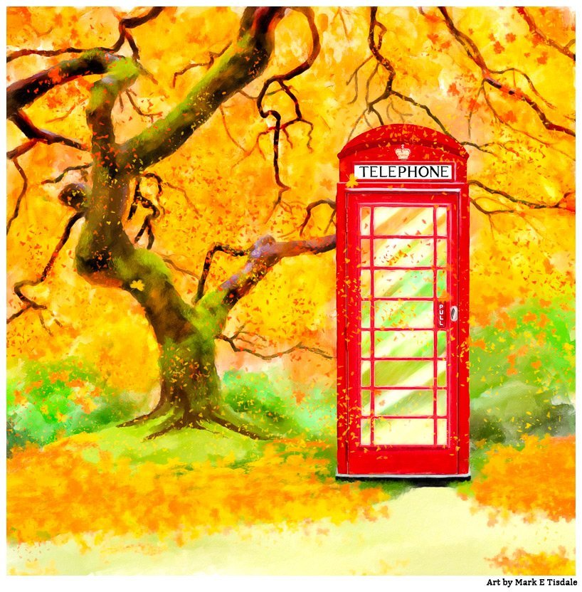 Red Phone Box And Autumn Leaves - Fall Print by Mark Tisdale