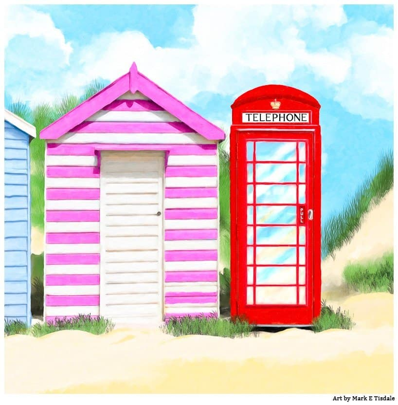 Red Phone Box And Summer Beach Hut - British Summer by Mark Tisdale